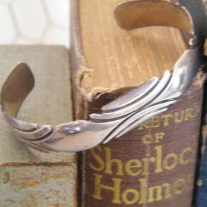 Navajo Sterling Silver Cuff engraved Etched